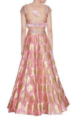 Rose pink banarasi silk & organza sequin zardozi lehenga set