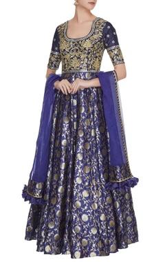 Neha Khullar Ink blue chanderi banarasi silk zari & sequins anarkali with dupatta
