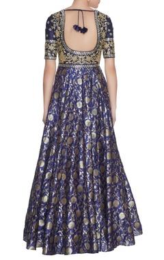 Ink blue chanderi banarasi silk zari & sequins anarkali with dupatta
