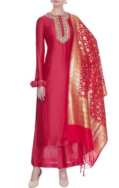 Neha Khullar Red chanderi silk gota embroidered kurta set