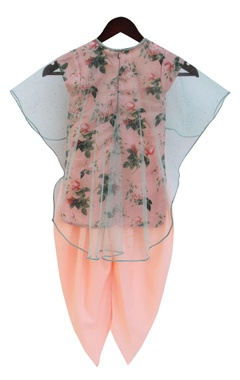 Peach printed kurta with dhoti pants & cape