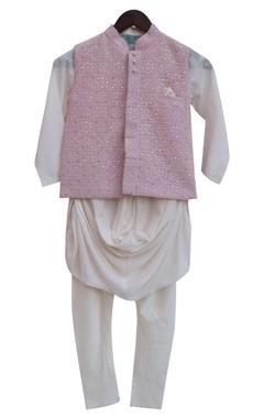 Baby pink modal & cotton silk embroidered nehru jacket with off white kurta & churidar