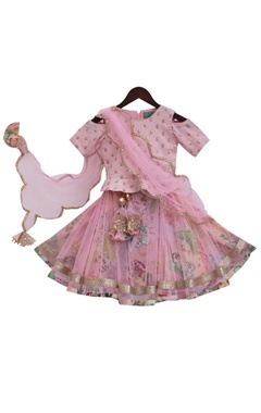 Baby pink silk & net embroidered choli with printed lehenga & dupatta