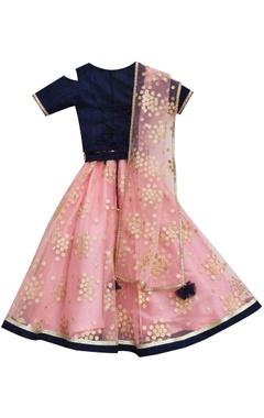 Dark blue dupion silk choli with peach frilled foil printed lehenga & dupatta