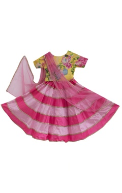 Pink poly-silk lehenga with cotton printed blouse & dupatta
