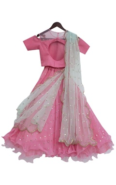 Pink sequin embroidered lehenga with choli blouse & net dupatta
