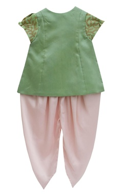 Pista green embroidered jacket with satin silk dhoti pants