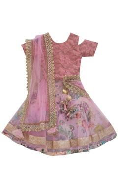 Pink net & dupion silk layered lehenga set
