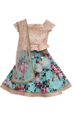 Blue printed satin silk lehenga with peach embroidered blouse & net dupatta