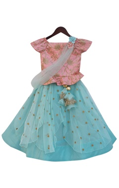 Baby pink silk & net embroidered peplum choli with light blue sequin work lehenga & dupatta