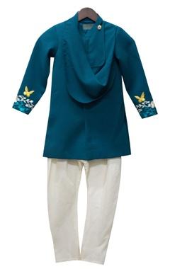 Teal blue achkan jacket with white churidar