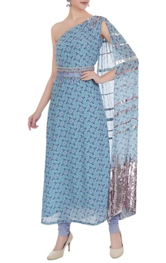 Anushka Khanna One-shoulder sequin hand-embroidered kurta set