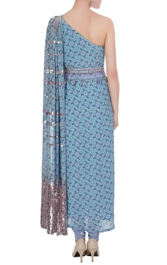 One-shoulder sequin hand-embroidered kurta set