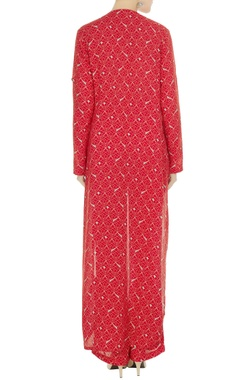 Geometric printed high-low kurta