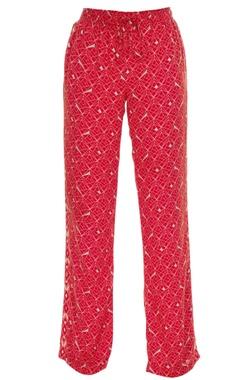Geometric printed elastic waist pants
