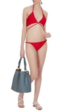 Halter tie-up wrap style bikini set