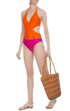 Color-block cutout halter monokini