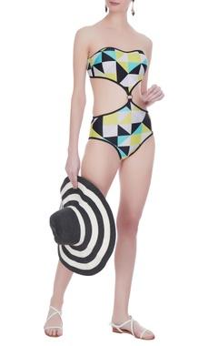 Kai Resortwear Tube style geometric printed monokini