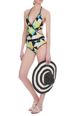 Halter cutout deep v-neckline monokini