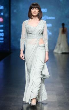 Aqua blue hand embroidered bead saree set