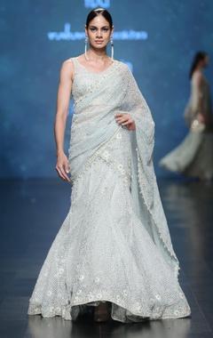 Aqua & sage mesh jaal pattern thread embroidered lehenga sari set