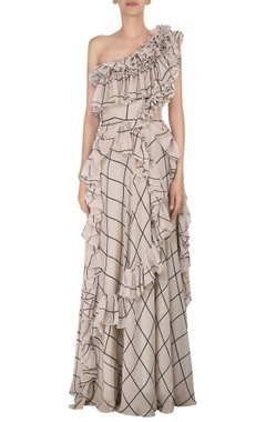 Check printed chiffon gown