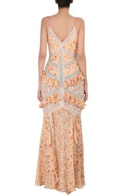 Printed chiffon floral patchwork dress