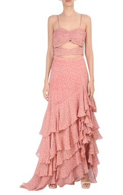 Waist cutout ruffle layered gown