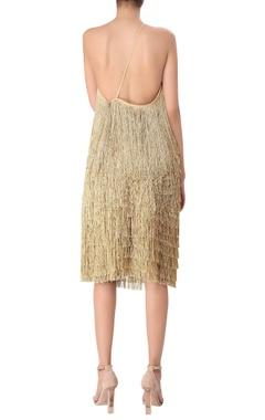 Tassel detail crepe silk one shoulder dress