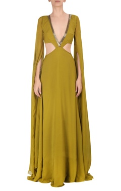 Cutout cape sleeve gown