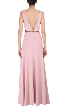 Deep v-neckline gown with high slit