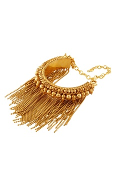 Gold plated tassel chain sleek bracelet