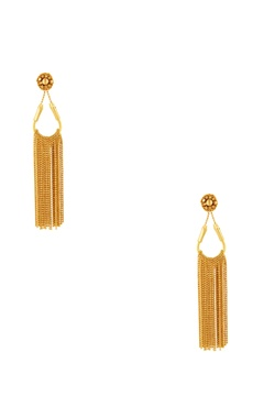 Malleka Gold plated dangling earrings with chain accents