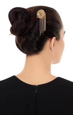 Gold plated japanese tassel chain hair pin