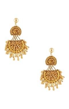 Malleka Gold plated beadwork dangling earrings