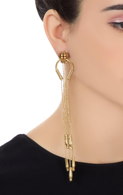 Gold plated dangling chain earrings