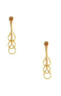 Malleka Gold plated inverted u-shaped dangling earrings