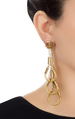 Gold plated inverted u-shaped dangling earrings