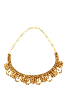 Malleka Gold plated bead & spiky stud embellished necklace