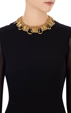 Gold plated bead & spiky stud embellished necklace