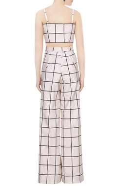 White cotton chequered crop top & pants set