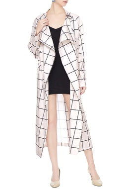 Deme by Gabriella White cotton chequered long jacket