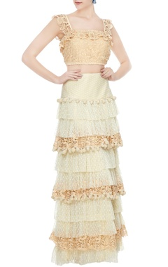 Deme by Gabriella Beige crochet crop top with net ruflled crochet skirt