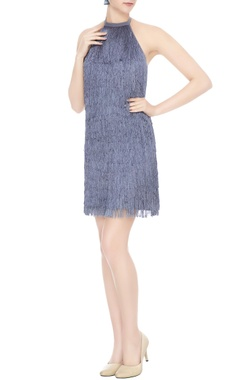 Deme by Gabriella Blue crepe & silk tasseled halter neck short dress