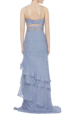Blue dotted chiffon ruffled & cut-out gown