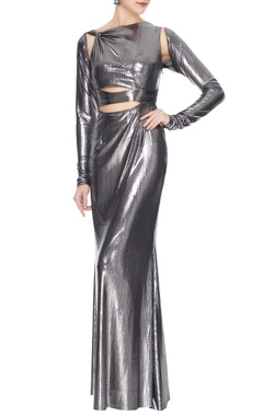 Deme by Gabriella Silver metallic front cut-out gown