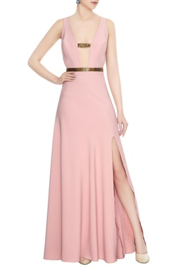 Deme by Gabriella Blush pink crepe beaded side slit gown