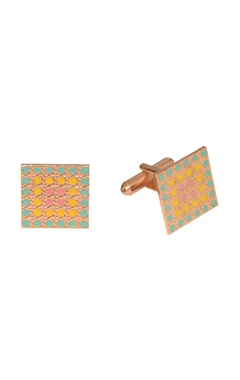 Multicolored handcrafted square cufflinks