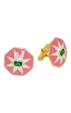 Pink floral motif cufflinks
