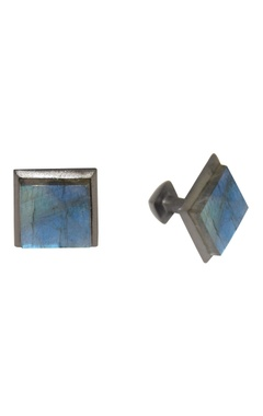 Black & blue handcrafted brass cufflinks